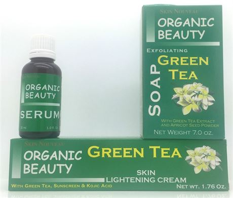 Organic Beauty Green Tea Skin Lightening Cream, Serum and Soap